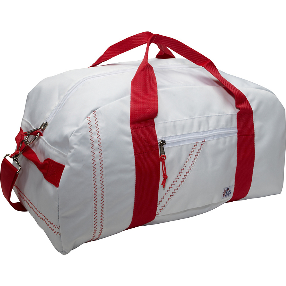 SailorBags Sailcloth Large Square Duffel White with Red Straps SailorBags Travel Duffels