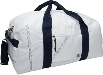 SailorBags Sailcloth Large Square Duffel White with Blue Straps - SailorBags Travel Duffels