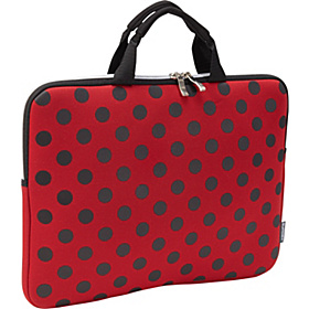 NeoArt Printed Neoprene Sleeve with Handle- 14.1'' Red with Black Dots
