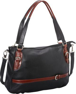 Derek Alexander Large Top Zip Tote Black/Brandy - Derek Alexander Leather Handbags