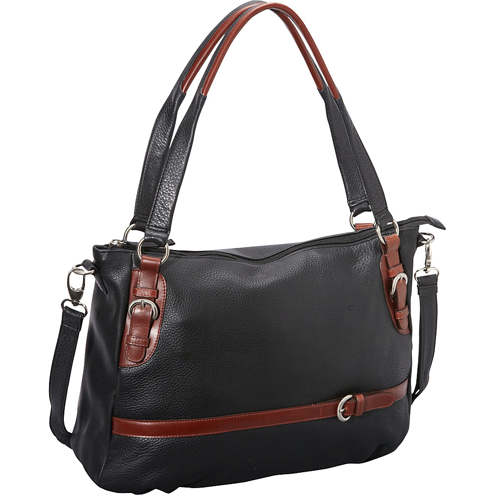 Derek Alexander Large Top Zip Tote Black/Brandy - Derek Alexander Leather Handbags