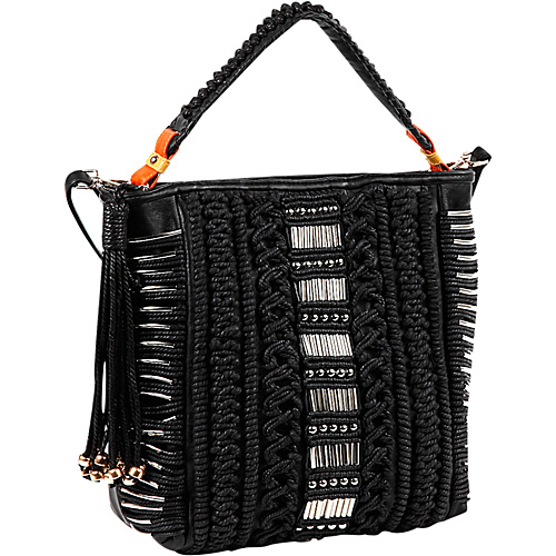 Nicole Lee Nigel Woven Rows Tote Black - Nicole Lee Leather Handbags