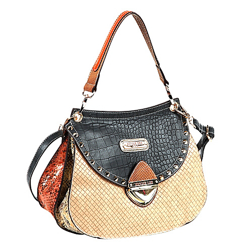 Nicole Lee Mallory Mix Match Color Block Shoulder Bag Black/Tan - Nicole Lee Leather Handbags