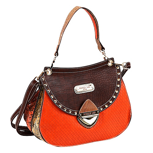 Nicole Lee Mallory Mix Match Color Block Shoulder Bag Brown/Orange - Nicole Lee Leather Handbags