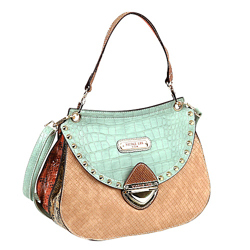 Nicole Lee Mallory Mix Match Color Block Shoulder Bag Green/Tan - Nicole Lee Leather Handbags