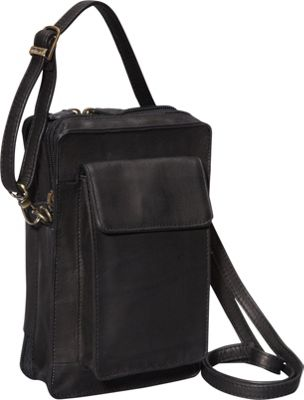 Derek Alexander NS Top Zip Organizer Black - Derek Alexander Leather Handbags
