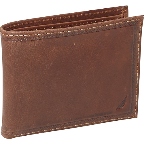Nautica Mens Wallets Gunwale Passcase Wallet Tan - Nautica Mens Wallets Mens Wallets