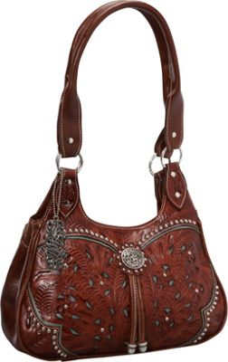 American West Lady Lace 3 Compartment Tote Antique Brown w/ turq accents - American West Leather Handbags