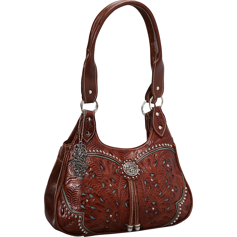 American West Lady Lace 3 Compartment Tote Antique Brown w turq accents American West Leather Handbags