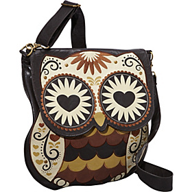 Owl With Heart Eyes Crossbody Bag Brown