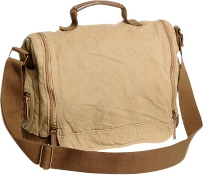 Vagabond Traveler Washed Canvas Leisure Messenger Bag Khaki - Vagabond Traveler Messenger Bags