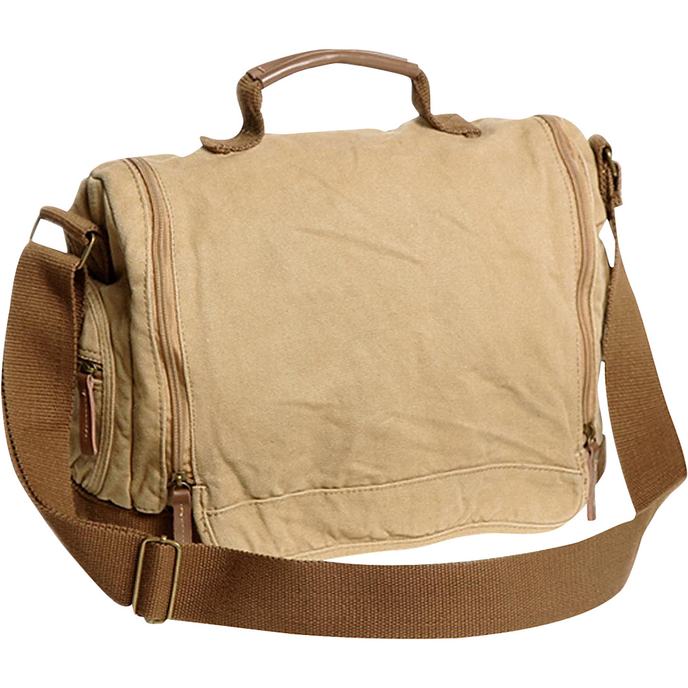 Vagabond Traveler Washed Canvas Leisure Messenger Bag Khaki Vagabond Traveler Messenger Bags