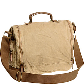 Washed Canvas Leisure Messenger Bag Khaki