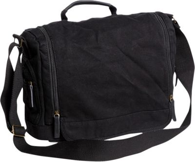 Vagabond Traveler Washed Canvas Leisure Messenger Bag Black - Vagabond Traveler Messenger Bags