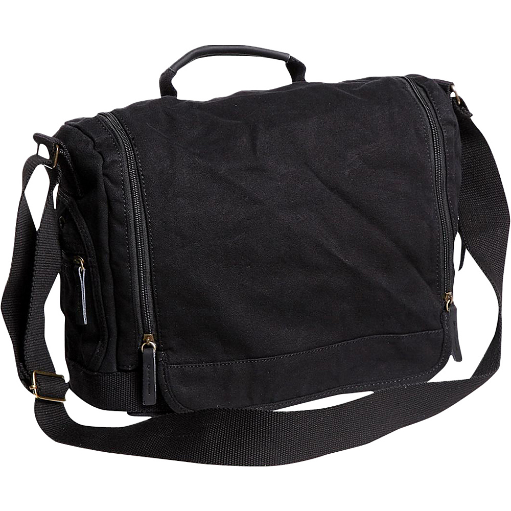 Vagabond Traveler Washed Canvas Leisure Messenger Bag Black - Vagabond Traveler Messenger Bags - Work Bags & Briefcases, Messenger Bags