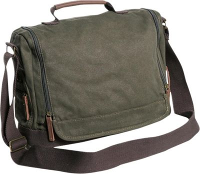 Vagabond Traveler Washed Canvas Leisure Messenger Bag Military Green - Vagabond Traveler Messenger Bags