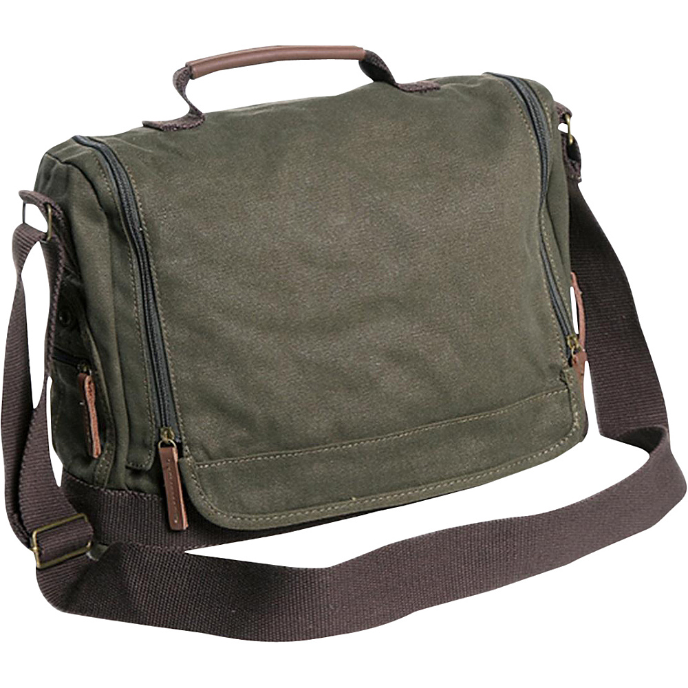 Vagabond Traveler Washed Canvas Leisure Messenger Bag Military Green - Vagabond Traveler Messenger Bags - Work Bags & Briefcases, Messenger Bags