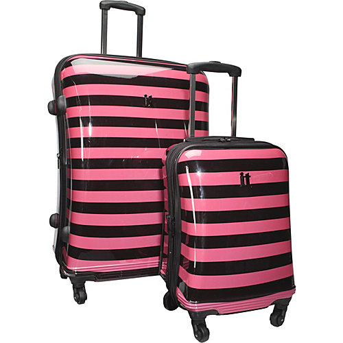 IT Luggage Kingston 4 Wheeled 2 Piece Luggage Set Black & Fuchsia Stripes - IT Luggage Luggage Sets