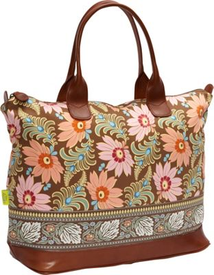 Amy Butler for Kalencom Marni Fashion Bag without Ribbon Chocolate Fern Flower - Amy Butler for Kalencom Luggage Totes and Satchels