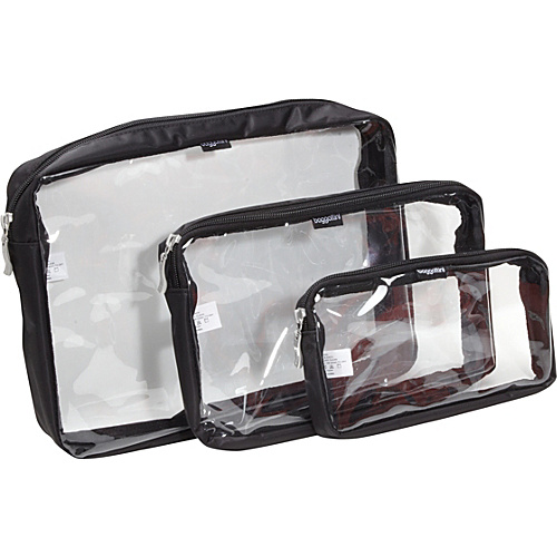 baggallini Clear Trio Baggs Black/Khaki - baggallini Packing Aids