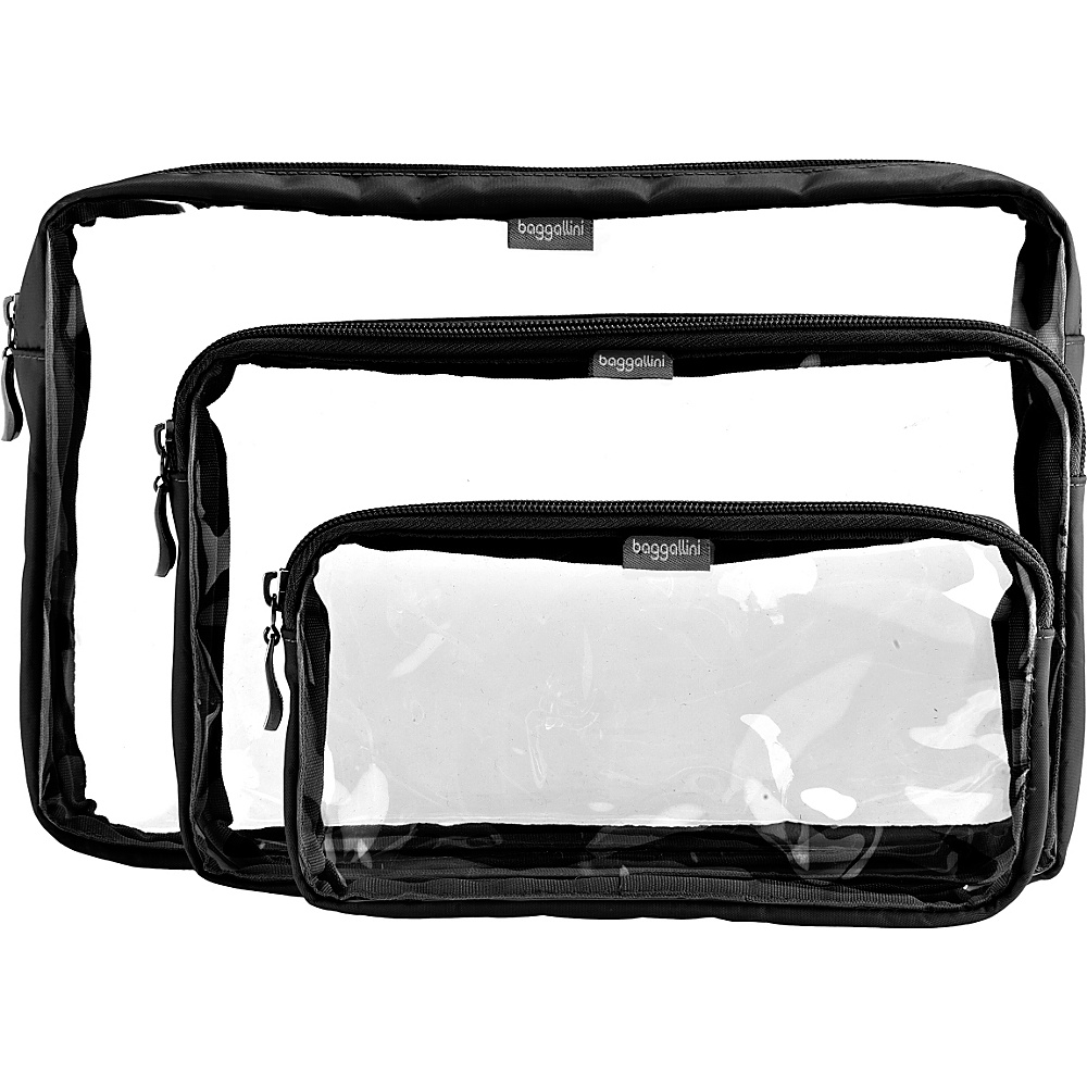 baggallini Clear Trio Baggs Packing Aids Black/Sand - baggallini Travel Organizers - Travel Accessories, Travel Organizers