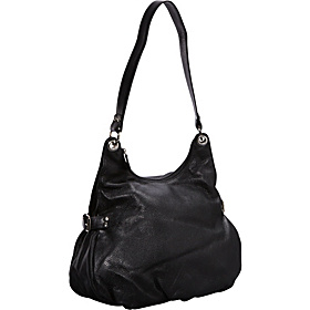 Side Buckle Leather Hobo BLACK