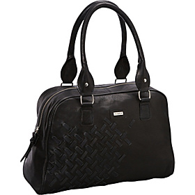 Woven Double Handle Leather Satchel BLACK