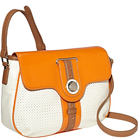 Sporting Life Perforated Medium Flap Crossbody  White/Orange Peel