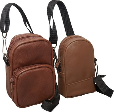 Image of AmeriLeather All Purpose Accessories Pouch 2-pc. Set Brown - AmeriLeather Travel Shoulder Bags