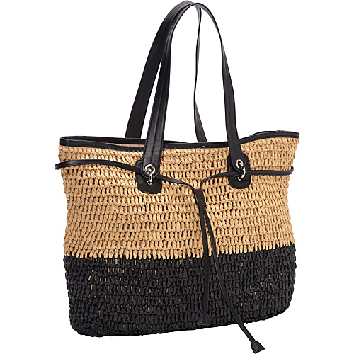 Magid Two Tone Crochet Paper Straw Drawstring Bag Camel/Black - Magid Straw Handbags