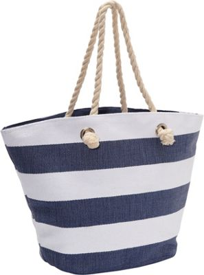 Magid Paper Straw Wide Stripe Beach Rope Tote