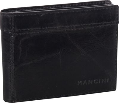 Mancini Leather Goods Outback Collection: Men's Double Wing Billfold Wallet Black - Mancini Leather Goods Men's Wallets