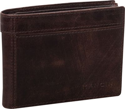 Mancini Leather Goods Outback Collection: Men's Double Wing Billfold Wallet Brown - Mancini Leather Goods Men's Wallets