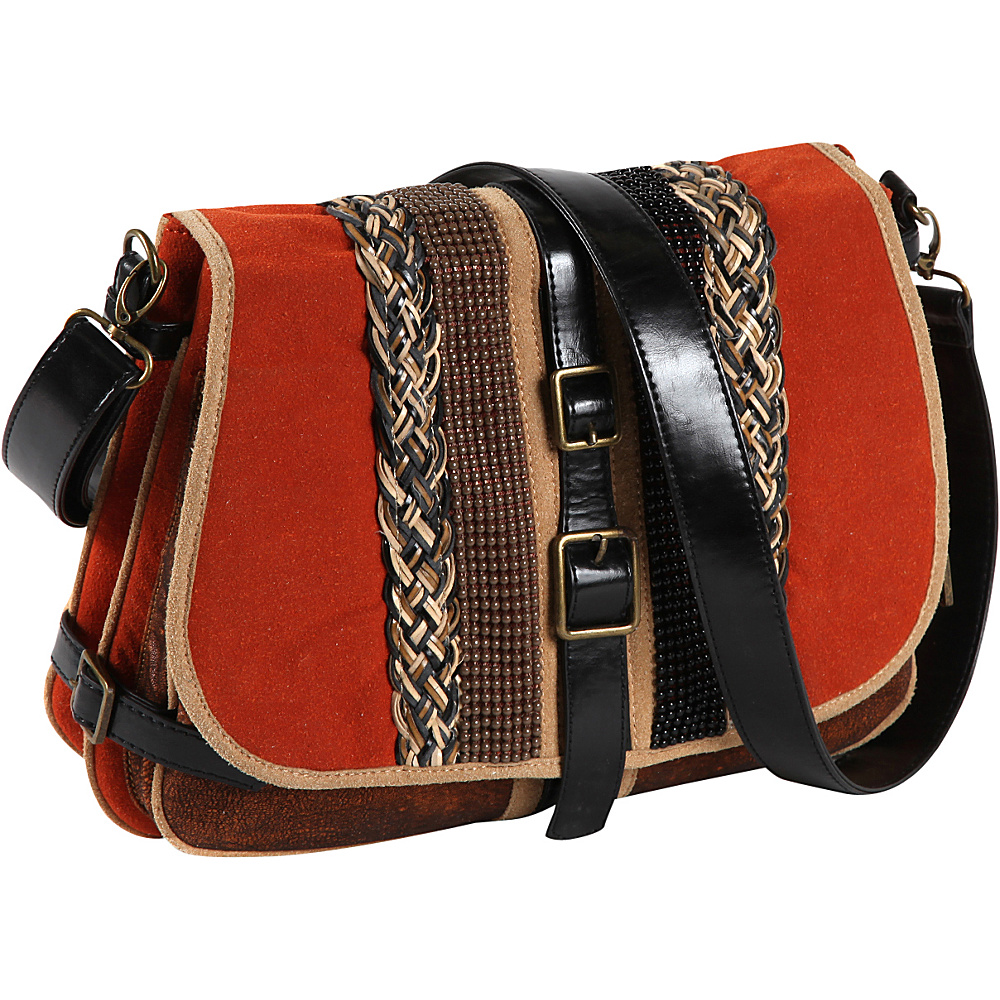Nicole Lee Taylor Multi Texture Works Shoulder Bag ORANGE Nicole Lee Manmade Handbags