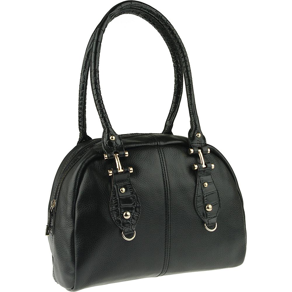 Buxton Bianca Satchel Black - Buxton Leather Handbags