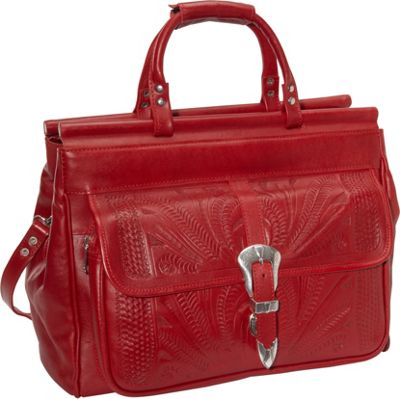 Ropin West 18 inch Leather Weekender Red - Ropin West Luggage Totes and Satchels