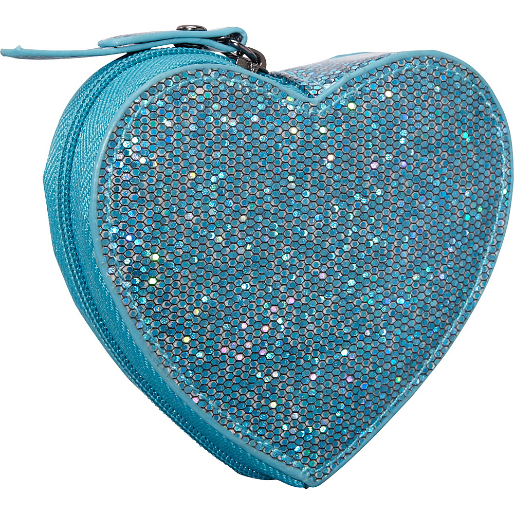 Clava Jazz Glitter Heart Coin Purse Teal - Clava Ladies Small Wallets
