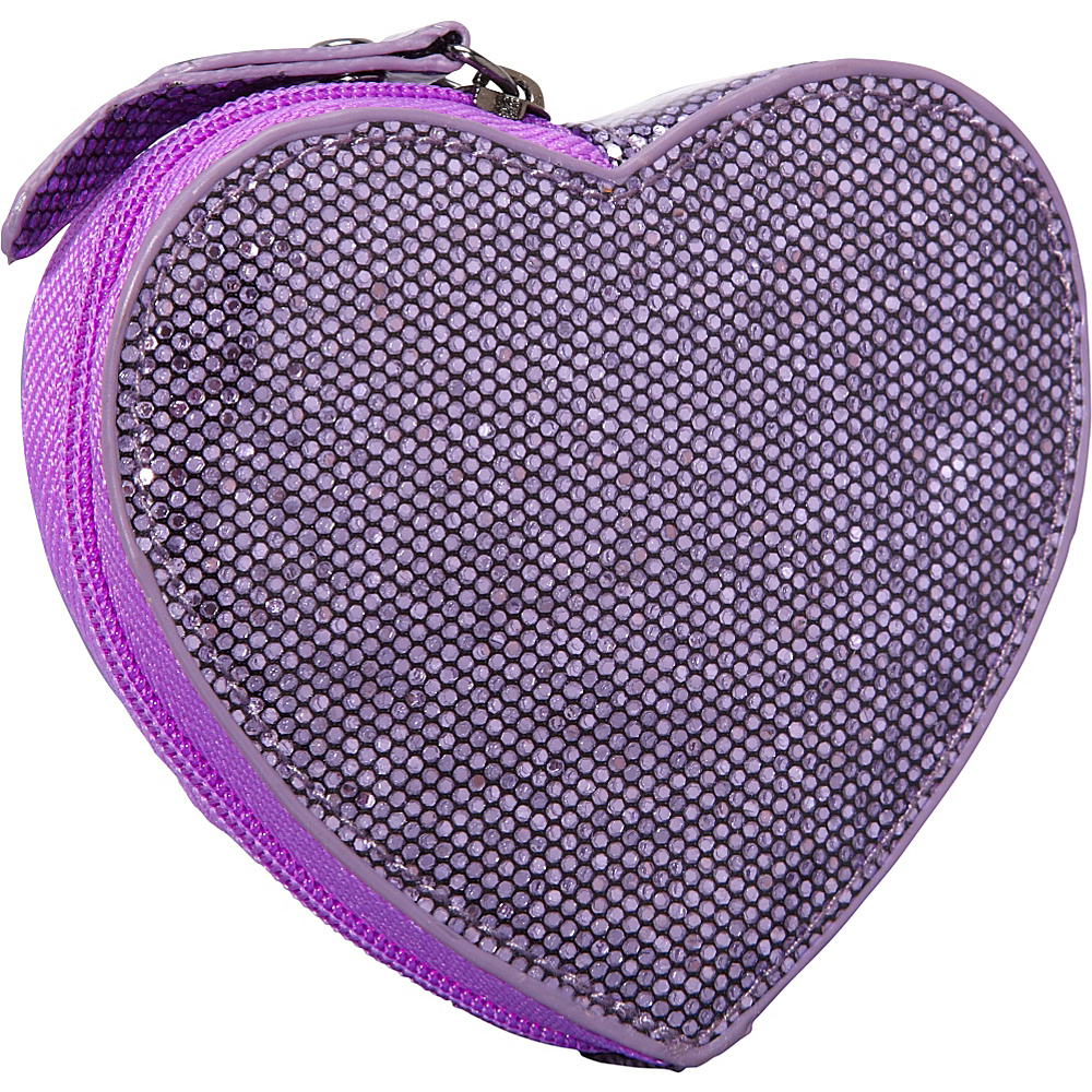 Clava Jazz Glitter Heart Coin Purse Purple - Clava Ladies Small Wallets