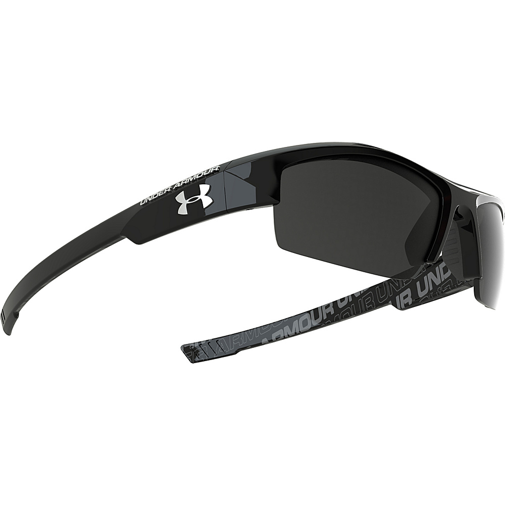 Under Armour Eyewear Nitro Youth Sunglasses Shiny Black w Charcoal Rubber and Repeating Wordm Under Armour Eyewear Sunglasses