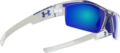 Under Armour Eyewear Nitro Youth Sunglasses Crystal Clear Frame/Gray w/ Blue Multiflection - Under Armour Eyewear Sunglasses