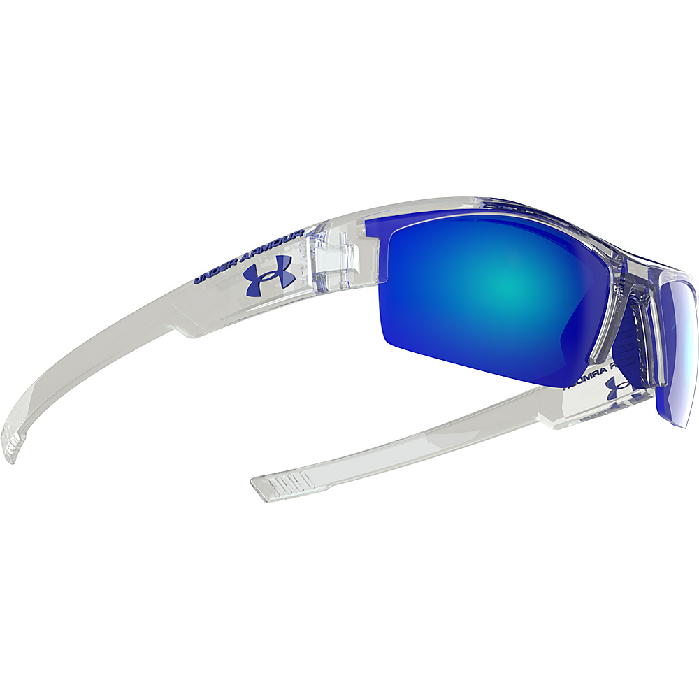 Under Armour Eyewear Nitro Youth Sunglasses Crystal Clear Frame Gray w Blue Multiflection Under Armour Eyewear Sunglasses