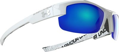 Under Armour Eyewear Nitro Youth Sunglasses Shiny White w/ Charcoal Rubber and Repeating Wordm - Under Armour Eyewear Eyewear
