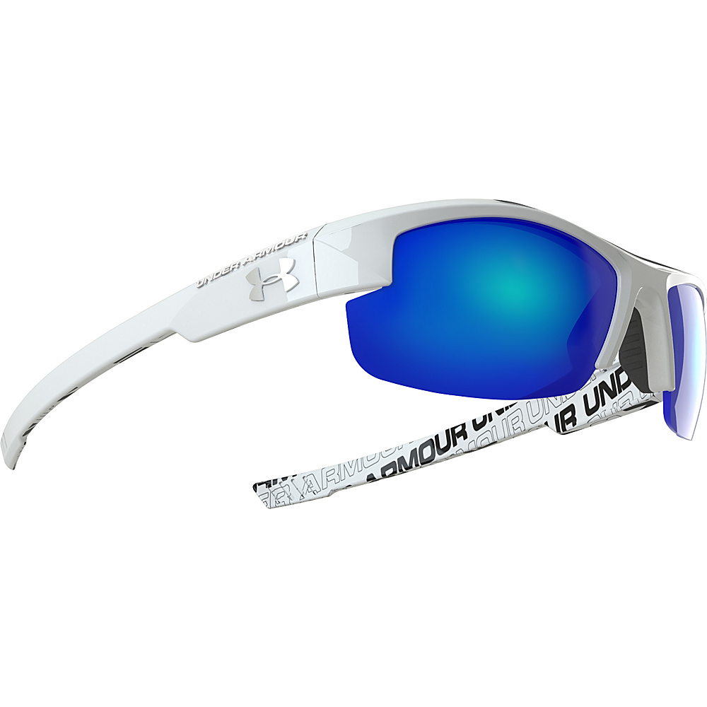 Under Armour Eyewear Nitro Youth Sunglasses Shiny White w Charcoal Rubber and Repeating Wordm Under Armour Eyewear Sunglasses