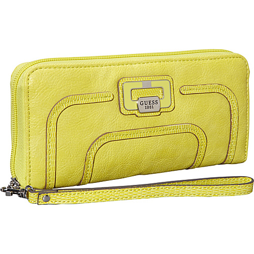 GUESS Neeka Large Zip Around Lime - GUESS Ladies Small Wallets