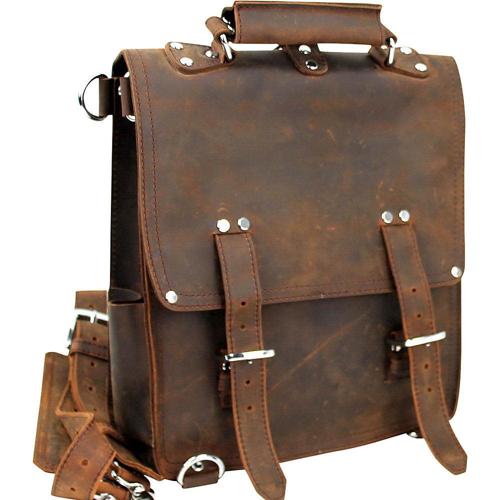 Vagabond Traveler Tall Cowhide Full Leather Backpack Brief Vintage Brown - Vagabond Traveler Non-Wheeled Business Cases - Work Bags & Briefcases, Non-Wheeled Business Cases