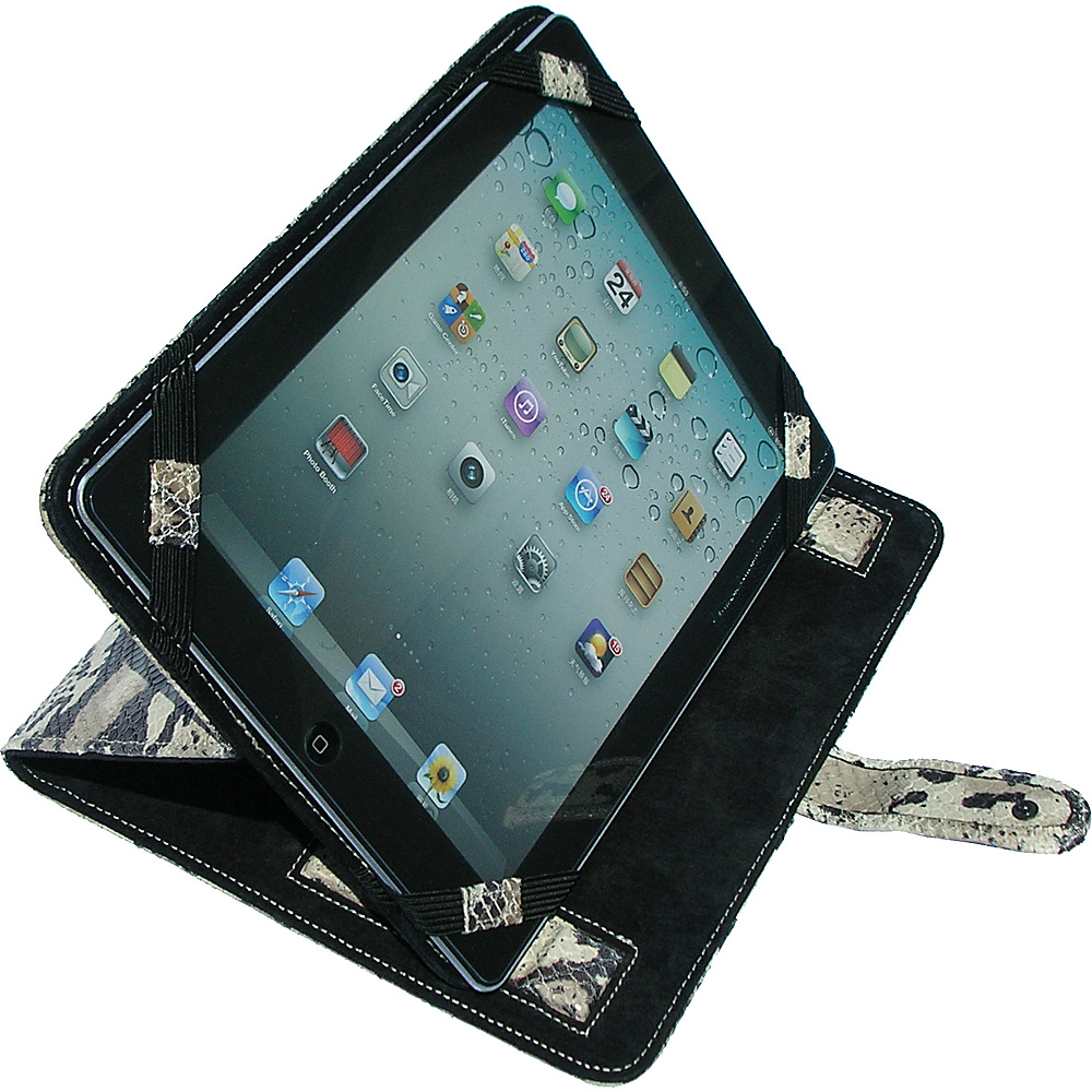 pb travel Luxury Exotic Python Embossed Leather Stand Up IPad Cover Charcoal Grey pb travel Electronic Cases