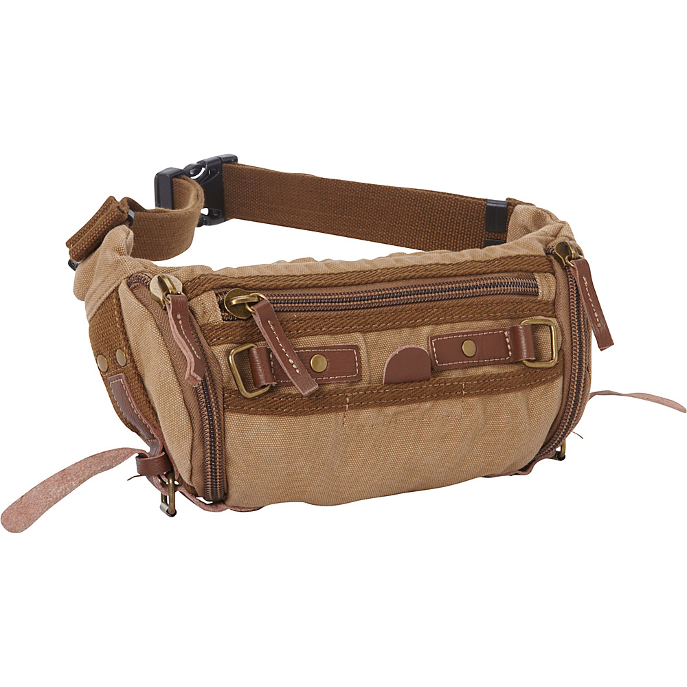 Vagabond Traveler Stylish Trapezium Canvas Waist Pack Khaki - Vagabond Traveler Waist Packs - Backpacks, Waist Packs