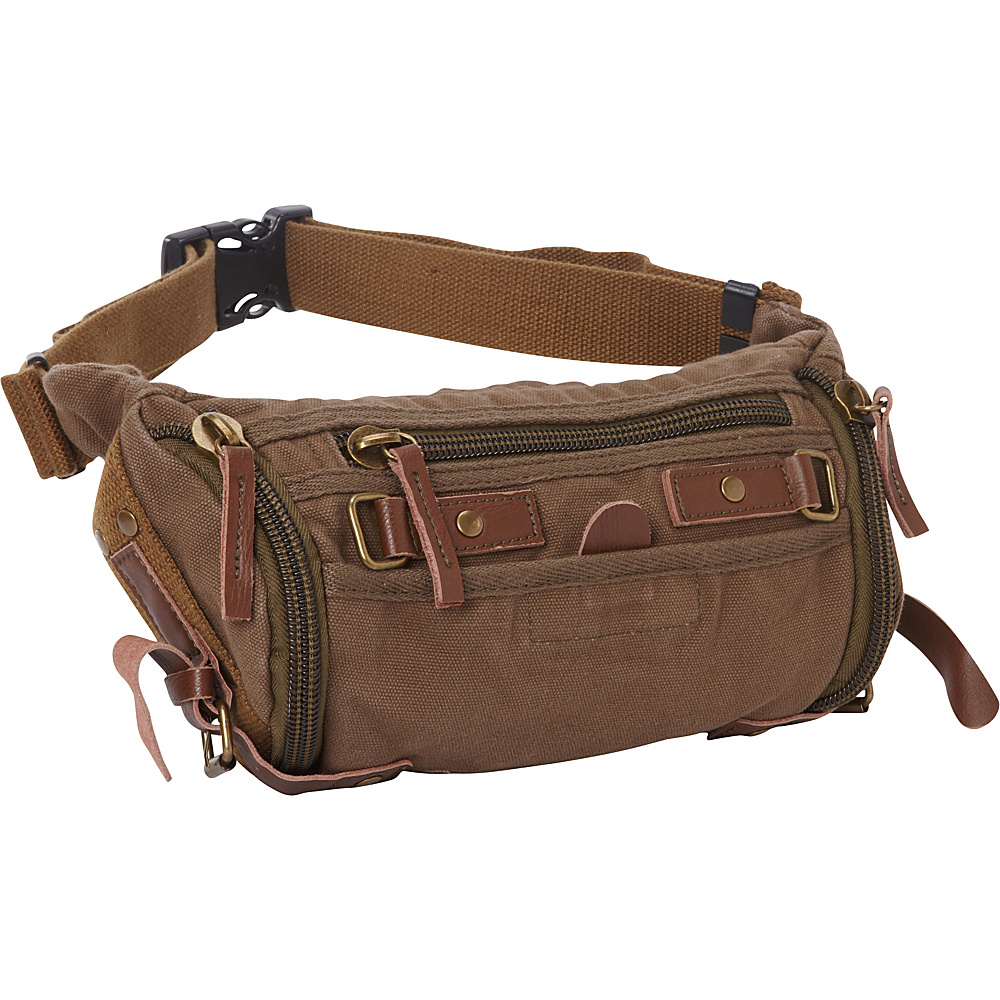 Vagabond Traveler Stylish Trapezium Canvas Waist Pack Military Green Vagabond Traveler Waist Packs