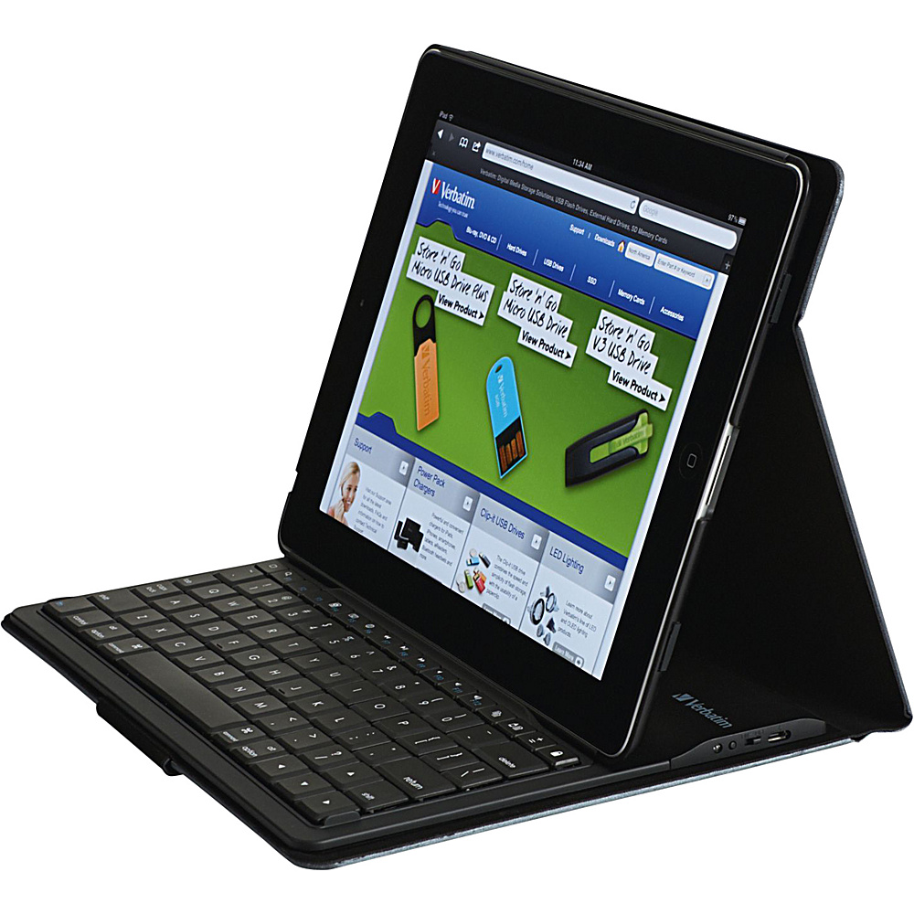 Verbatim Folio Slim Case with Bluetooth Keyboard for iPad Generation 2 3 4 Black Verbatim Electronic Cases