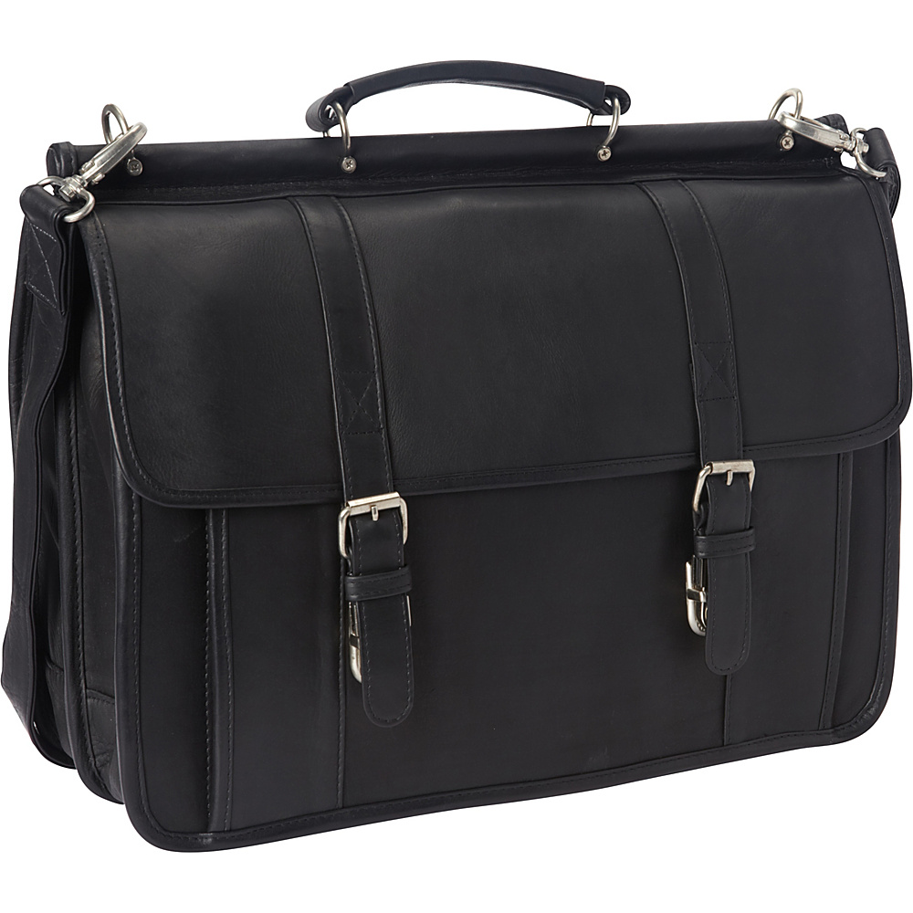 Le Donne Leather Classic Dowel Rod Laptop Briefcase Black - Le Donne Leather Non-Wheeled Business Cases - Work Bags & Briefcases, Non-Wheeled Business Cases